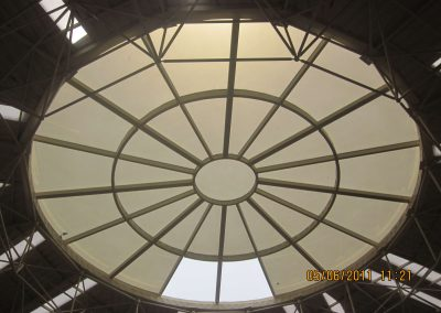 steel space frame with skylight roof
